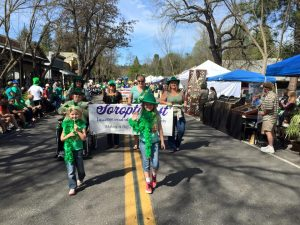 Soroptimist Members carry our identifying banner in Murphys Irish Days Parade - 3/21/15
