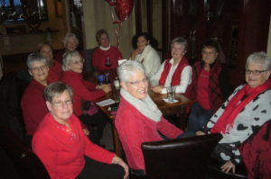 Soroptimists and friends on 2/7/14 --celebrating National Wear Red Day --to raise awareness of heart disease in women
